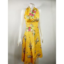 Thai dress Flower pattern yellow