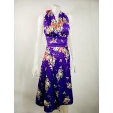 Thai dress Flower pattern blue