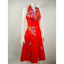 Thai dress Flower pattern Red