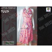 Dress Thai Traditional Fabric  Flowers Pink luxury