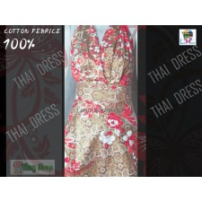 Dress Thai Traditional Fabric  Flowers Gold